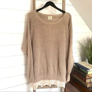 UO Pins & Needles Pullover Sweater W/trim, Large